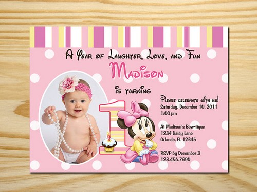 Personalized Minnie Mouse First Birthday Invitations Ideas
